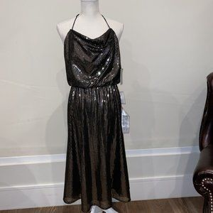 $258 Dress The Population Womens Black Gold Sequin